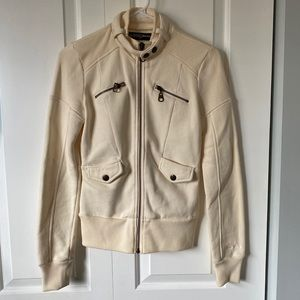 Guess Brand Jacket Zip Up Sweater Small Cream